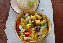 Bananen-Süßkartoffel-Curry mit Paprika, Minze und Koriander